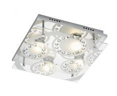 Briloner Leuchten 3585-048 plafonnier, Spots, Lampe Salon denfant ou Chambre a Coucher, Applique LED,Verre matifié Cristal,carré, Métal, GU10, 3 W, Chrome, 30 x 30 x 9 cm