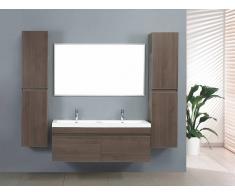 items-france ZEN 2 - Grand meuble salle de bain double vasque suspendu avec 2 co...