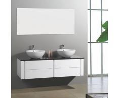 items-france PARIS - Grand meuble salle de bain double vasque suspendu