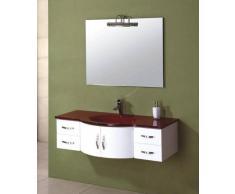 items-france RUBIS - Meuble salle de bain rouge et blanc contemporain 120x56x32