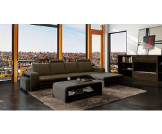 items-france NEW YORK 2 EXPO - Canape cuir 4/5 places + 2 reposes pieds expo