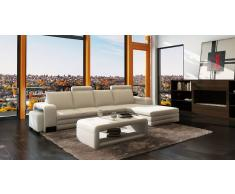 items-france NEW YORK 2 - Canape cuir 4/5 places + 2 reposes pieds