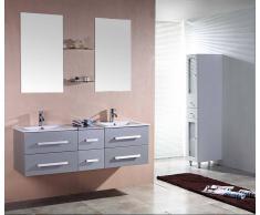 items-france RIVIERA2 GRIS - Meuble salle de bain contemporain 150x48 gris