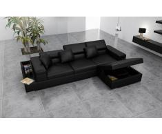 items-france GENOVA - Canape d'angle noir en cuir 4 personnes