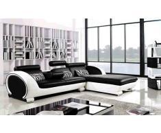 items-france XENON 2 - Canape d'angle noir en cuir 4 personnes