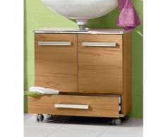 Meuble sous vasque à roulettes 2 portes + 1 tiroir