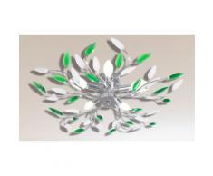 Plafonnier feuilles en acrylique effet cristal: Blanc et vert/ 241478 - 5 ampoules