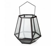 Lanterne en métal et verre h42cm