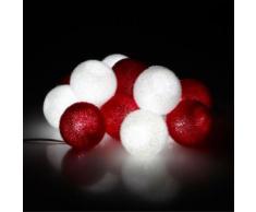 Guirlande lumineuse à boules rouges et blanches L3m40