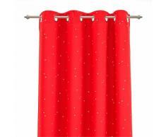 Rideau occultant rouge motifs étoiles 140x240cm pour enfant