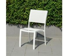 Chaise de jardin empilable blanche en textilène