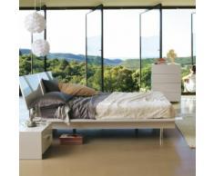 Lit 2 places blanc en bois recyclé (140x200cm)