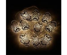 Guirlande lumineuse 10 LEDS - hibou blanc L1m80