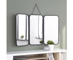 Miroir de barbier rectangulaire en métal noir 93x109.5cm
