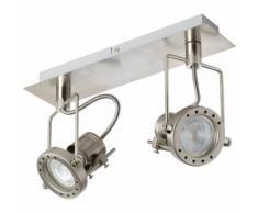 Plafonnier / Spot en métal chromé à 2 lumières