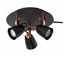 Plafonnier de 3 spots en métal noir et cuivre D25cm