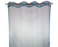 Voilage à illets 140x250cm blanc quadrillage bleu