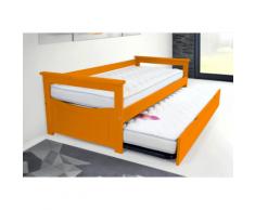 Lit Gigogne Topaze 90 x 190cm - Couleur - Orange, Dimensions - 90x190