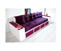 Canapé Cubes Blanc - Tiroirs couleur avec futon et coussins