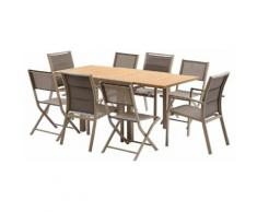 Salon de jardin Modulo 8 L90 Polywood 4 fauteuils 4 chaises Taupe