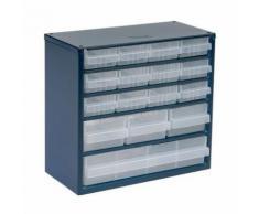 casier métallique équipé de 16 tiroirs en polypropylène,
