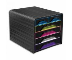 Module de classement SMOOVE Noir multicolore, 4 tiroirs 24 x 32 cm + 2 petits, L36 x H27,1 x P28,8 cm
