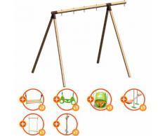 Promo - Portique bois évolutif TRIGANO 2,50 m. 4 enfants - 7 agrès inclus