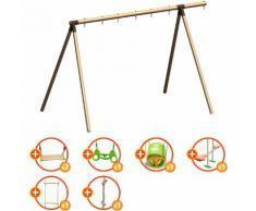 Promo - Portique bois évolutif TRIGANO 2,50 m. 5 enfants - 7 agrès inclus
