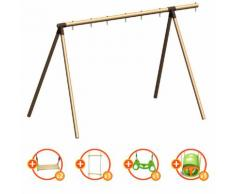 Portique bois évolutif TRIGANO 2,50 m. 4 enfants - 5 agrès inclus