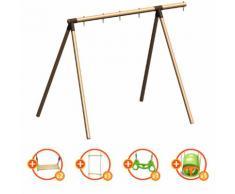 Portique bois évolutif TRIGANO 2,50 m. 3 enfants - 5 agrès inclus