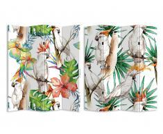 Paravent imprimé 4 pans exotique CACATOES - MDF - 180x120 cm - multicolore