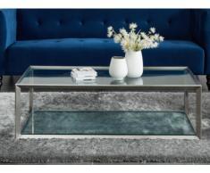 Table basse ELVY - Verre trempé & acier brossé inoxydable