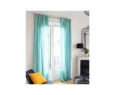 Lot de 2 rideaux en gaze de coton LEGERO - 140 x 260 cm - bleu