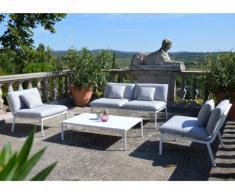 Salon de jardin ZANZIBAR en aluminium: un canapé 2 places, 2 fauteuils et une table basse - Gris clair