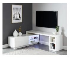 Meuble TV extensible MALORY - avec LEDs - 1 porte & 4 niches - MDF Blanc laqué