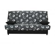 Canapé clic clac en tissu FARWEST avec coffre de rangement - Imprimé SEVENTIES