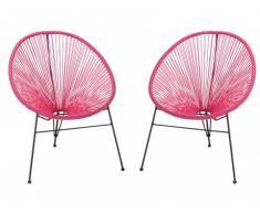 Lot de 2 chaises de jardin ALIOS II en fils de résine tressés - fuchsia