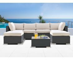 Salon de jardin ALANDA en résine tressée: canapé panoramique 4 places, 2 poufs et une table basse - anthracite
