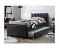 Lit gigogne ANDREA - 2x90x190cm - Simili noir