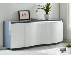 Buffet WINDY - LEDs - 4 portes - MDF - Blanc & anthracite
