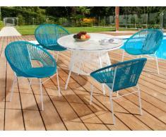 Salle à manger de jardin KELIOS en résine tressée : 4 fauteuils turquoise et une table blanche