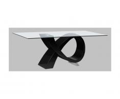 Table à manger ETREINTE - 8 couverts - MDF et verre trempé - Noir