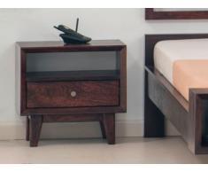 Chevet vintage ALAINA - 1 tiroir et 1 niche - Bois Acacia - L50 x P35 x H47cm