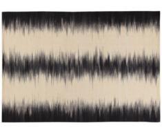 Tapis kilim THAÏS - laine et coton - 160x230 cm - Noir et beige
