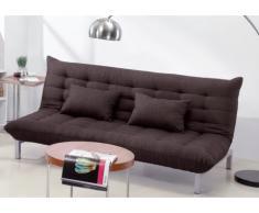 Canapé 3 places clic clac en tissu HORNET - Chocolat