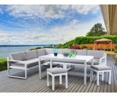 Salle à manger d'angle de jardin PALAOS en aluminium : un canapé 6 places, 2 tabourets et une table - Assise grise