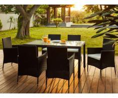 Salle à manger de jardin PALAWAN en résine tressée anthracite : une table + 6 fauteuils - assise blanche