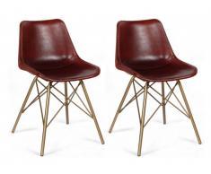 Lot de 2 chaises ATASCOA - Cuir & Métal brossé - Chocolat & Doré