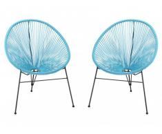 Lot de 2 chaises de jardin ALIOS II en fils de résine tressés - turquoise