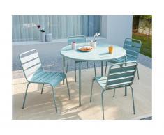 Salle à manger de jardin MIRMANDE en métal - une table D.110 cm et 4 chaises empilables - Vert amande